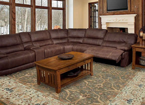 Pegasus 6PC Sectional with 3 Recliners - Dark Kahlua