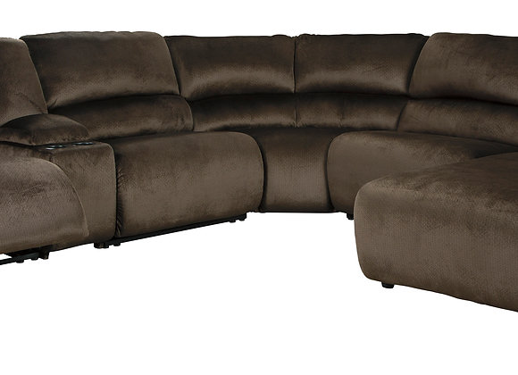 Clonmel 6PC Power Modular Sectional w/ LAF Chaise - Brown