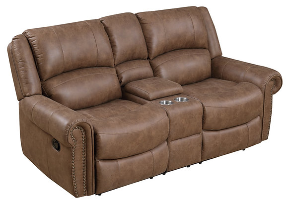 Spencer Reclining Console Loveseat - Brown
