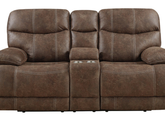 Earl Reclining Console Loveseat - Sanded Brown