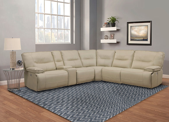 Spartacus 6PC Sectional with 3 Recliners - Oyster