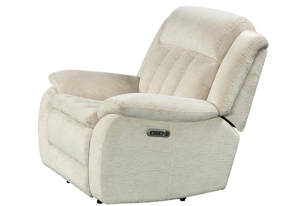 Cuddler Power Reclining Console Love w/ Power HDRST - Laurel Ecru