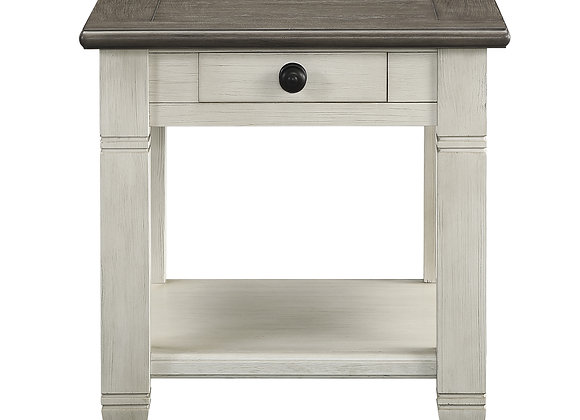 Granby End Table - White/Brown