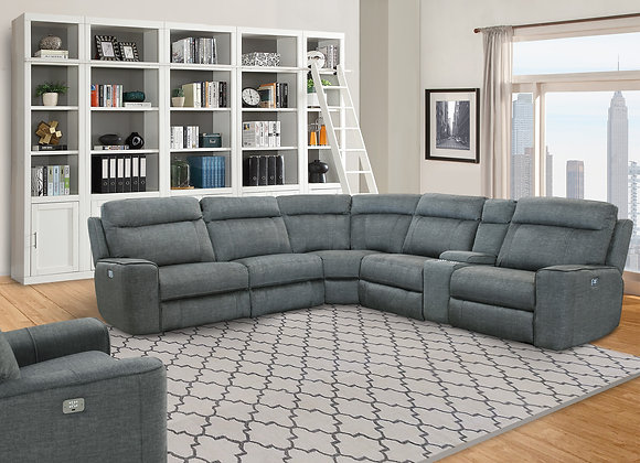 Pathenon 6PC Sectional with 3 Recliners - Titanium