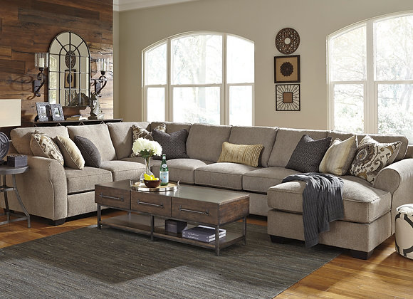 Pantomine 4PC Sectional w/ RAF Chaise - Driftwood