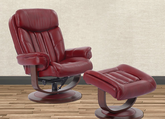 Prince Manual Swivel Reclining Chair w/ Ottoman - Rouge