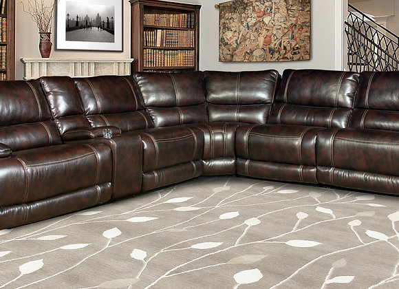 Pegasus 6PC Sectional with 3 Recliners - Nutmeg
