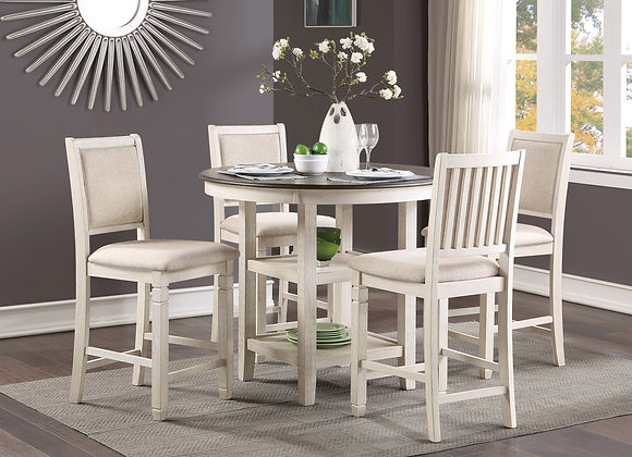 Asher 5PC Counter Dining Set - White