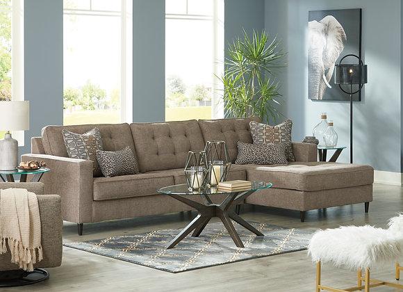 Flint 2PC Sofa w/ RAF Chaise - Auburn