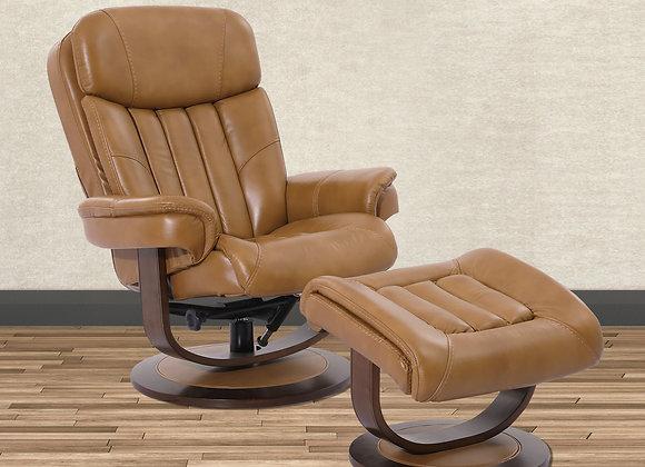 Prince Manual Swivel Reclining Chair w/ Ottoman - Butterscotch