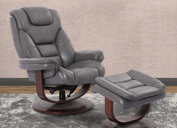 Monarch Manual Swivel Reclining Chair w/ Ottoman - Ice