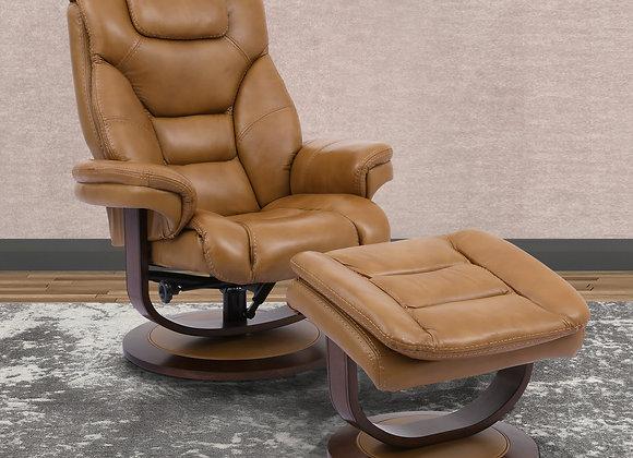 Monarch Manual Swivel Reclining Chair w/ Ottoman - Butterscotch