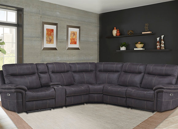Mason 6PC Sectional with 3 Recliners - Charcoal