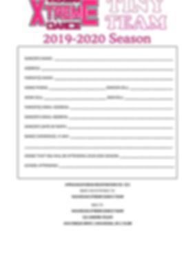 Tiny Team 2019-2020 Season- registration