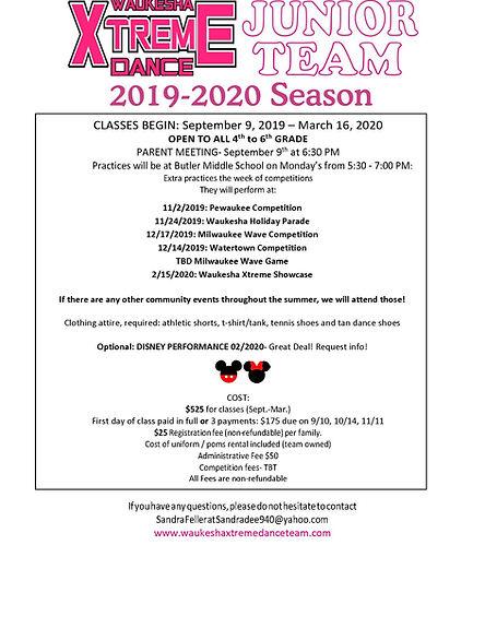 Junior Team 2019-2020 Season- informatio