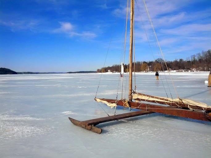 Ice boat on Hudson River Kingston NY