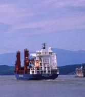Ship sailing Hudson River NY, NJ