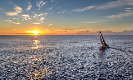 Offshore sailing at sunrise, ASA 104, ASA 106
