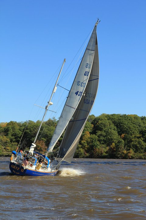 Windy sailing on Hudson River NY