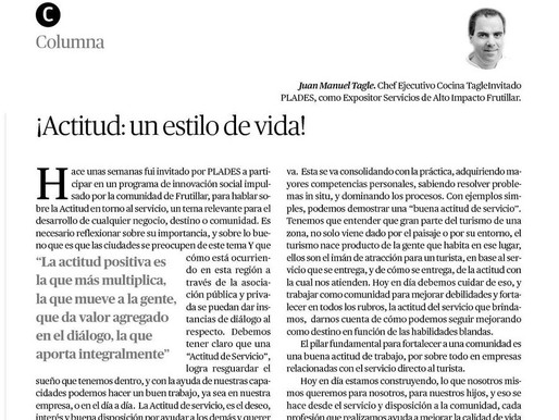 ¡Actitud: un estilo de vida! Columna de Juan Manuel Tagle