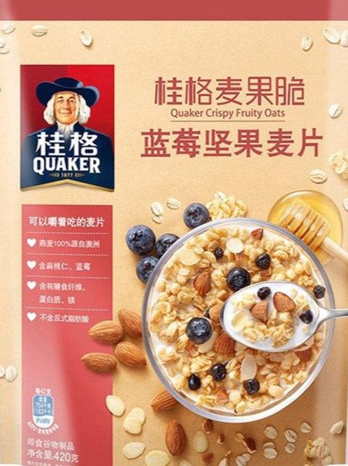 Quaker Crispy Fruity Oats Blueberry Nuts 桂格麦果脆 蓝莓坚果麦片 ( 420g )