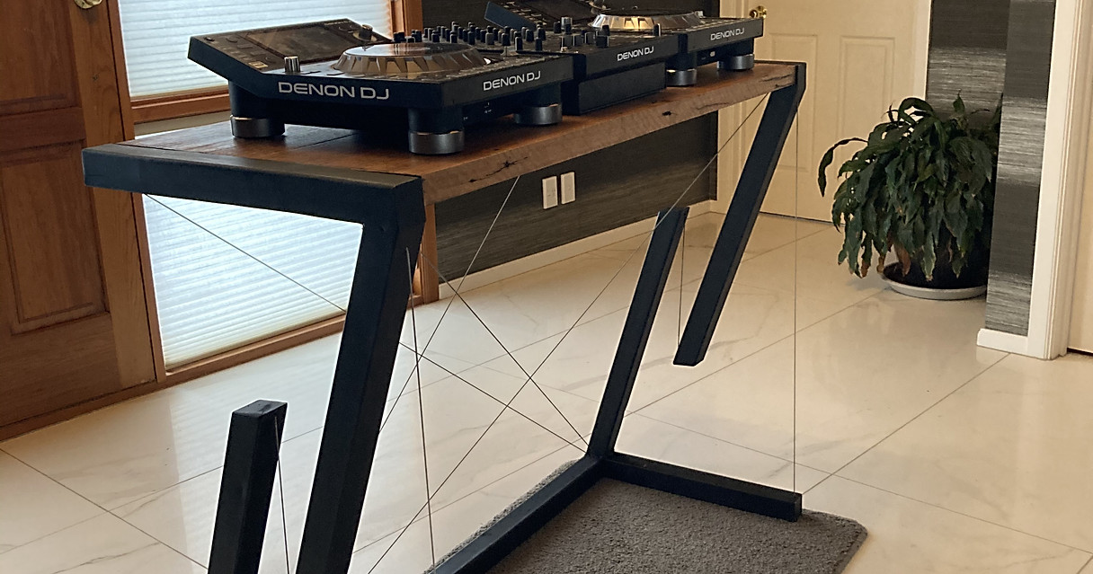 Floating DJ mixing table.
