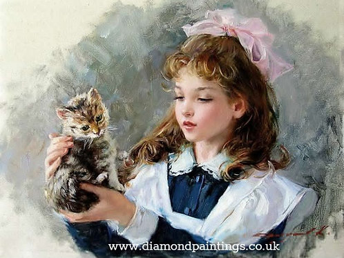 Young Girl with a Pink Bow Holding Kitten 30*40
