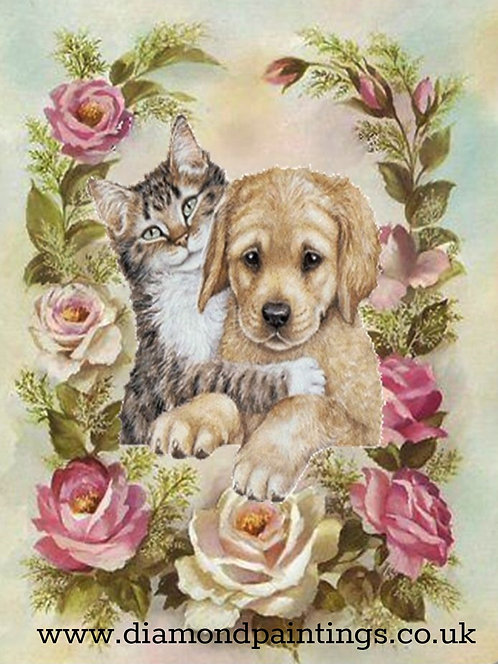 Puppy & Cat in a Rose Border 30*40
