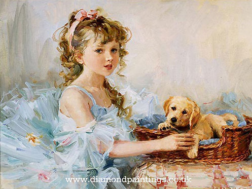 Young Girl with her Puppy 30*40