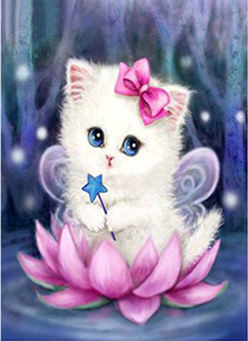 Pink Fairy Kitten on Lilly Flower 30*40