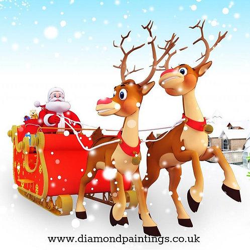 Santa and his Reindeer 20*20