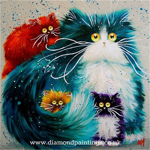 Colourful Cat Family 20*20