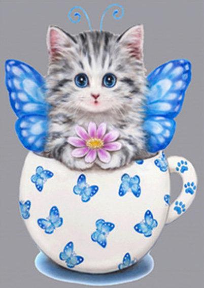 Tea Cup Kitten Fairy 30*40