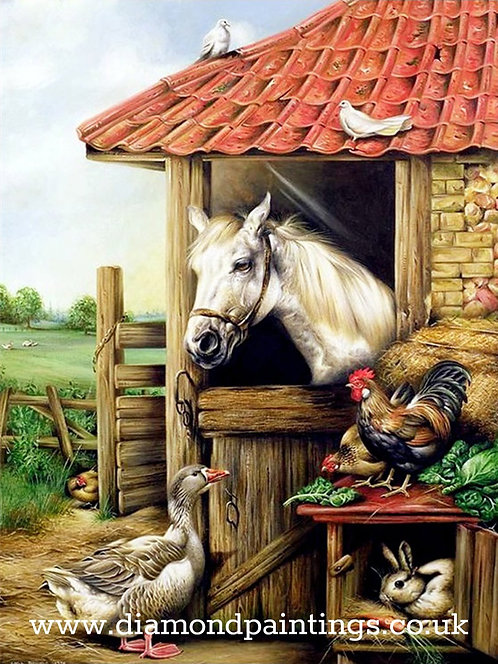 Horse in Stable 30*40