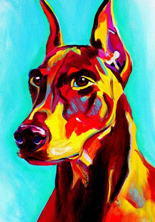 Colourful Doberman 20*25
