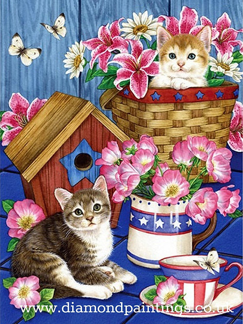 Kitten Mischief in the Flowers 30*40