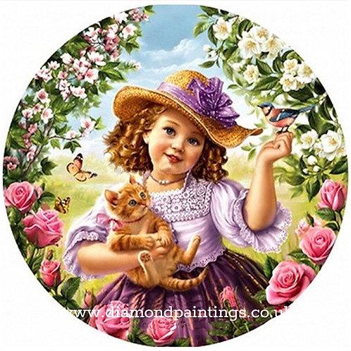 Girl Holding Ginger Kitten in a Garland of Flowers 30*30