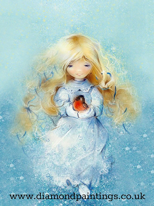 Little Girl with Blonde Hair and Blue Dress Holding Robin Redbreast 40*30
