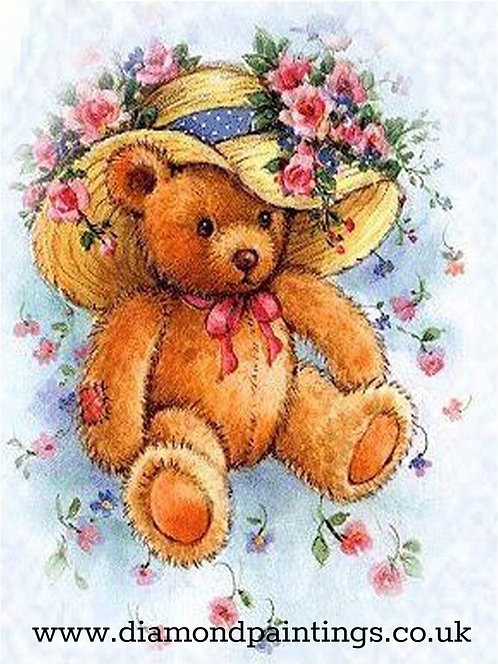 Teddy in a Floral Hat 30*40