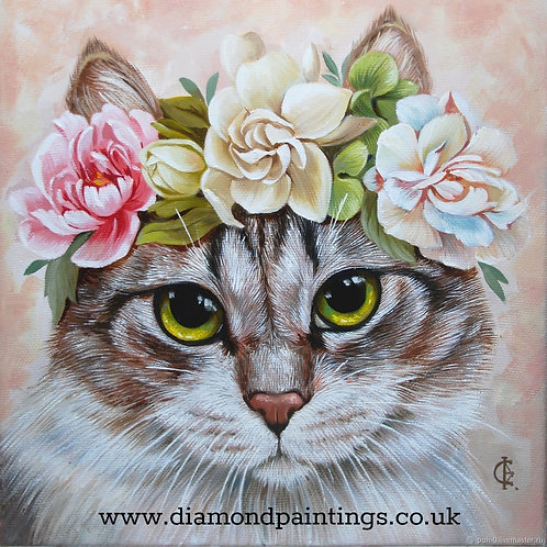 Cat with a Flower Headband 30*30