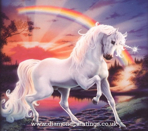 White Unicorn  Sunset Rainbow  30*40