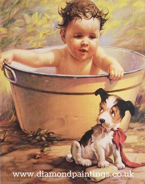 Bathtime Baby and Scruffy Dog 30*40