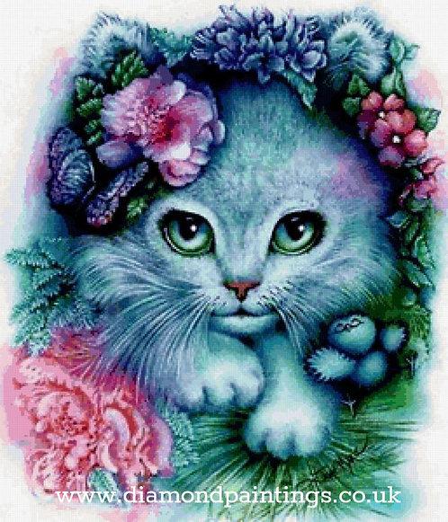 Kitten Hiding in the Flowers 30*30