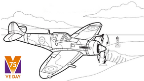 Colouring Pages: World War II Spitfire Aircraft