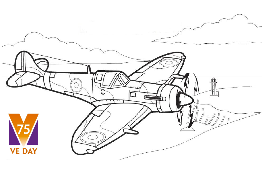 Colouring Pages World War Ii Spitfire Aircraft