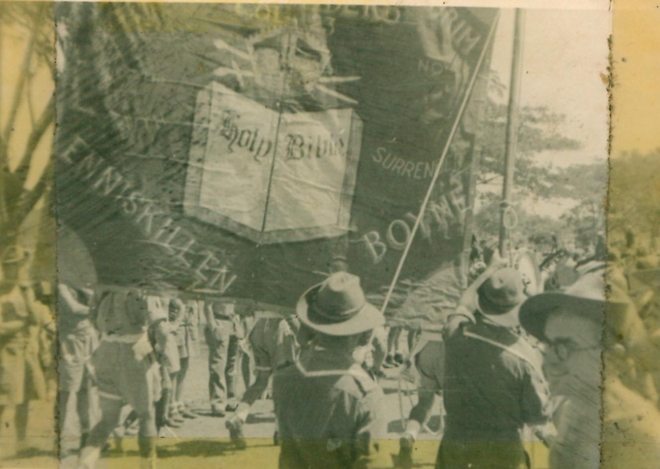 SAD153 Orange Banner on Parade in Burma