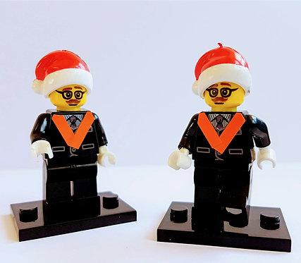 Nanoblock Orangeman Figure wearing a Santa hat