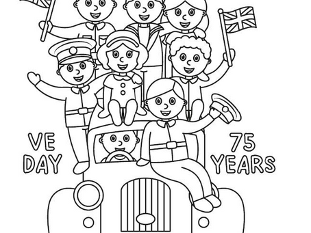 Colouring Pages: Victory: VE Day 75 Years Scene