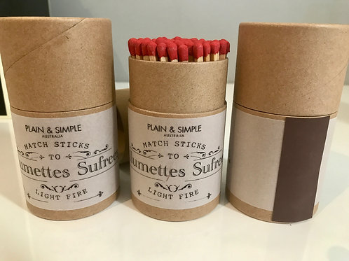 Cylinder matches for candles
