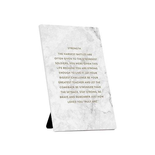 Strength Ceramic Plaque Quote Keepsake